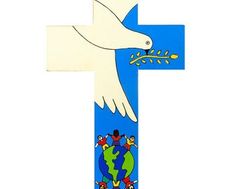 "Hand Painted Holy Spirit Cross. 4"" (10cm) High. Beautiful bright colours and imagery. A perfect Confirmation or Holy Communion Present."