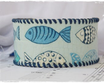 Nautical Leather Bracelet, Leather Cuff Bracelet, Blue Fish Bracelet, Funky Fish Bracelet, Eco-Leather Bracelet Cuff, Decoupage Cuff