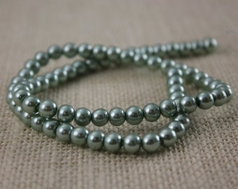 Vintage 6mm Light Moss Green Pearl Beads (70 Pieces)