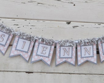 Bird Name Banner- Pink and Grey- Girl 1st Birthday
