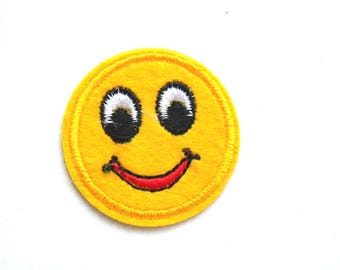 Smiley Face Emoji Embroidered Patch Appliqué