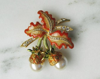Joan Rivers Enameled Rhinestone Faux Pearl Brooch