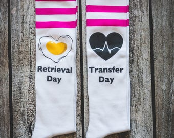 Combo Infertility Socks Retrieval and Transfer Day, Infertility, IVF, IVF Socks
