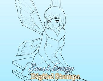 Fairy Sledding Digital Stamp