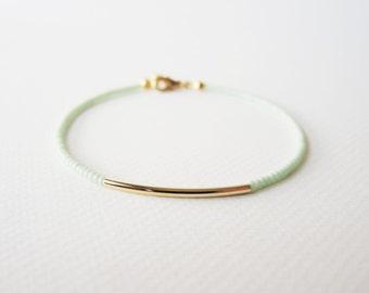 Gold bar bracelet - Mint green