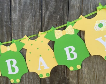 Yellow and Green Baby Shower Banner, Gender Neutral Baby Shower Banner, Girl Baby Shower Banner, Boy Baby Shower Banner, Onesie Banner