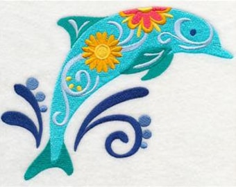 Embroidered Flower Power Dolphin Fingertip Towel