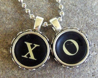 Love Typewriter Key Necklace Hugs and Kisses Wedding Anniversary Gift Valentine