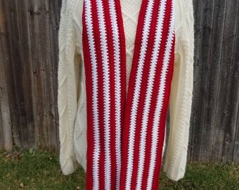 Red/White Crochet Scarf