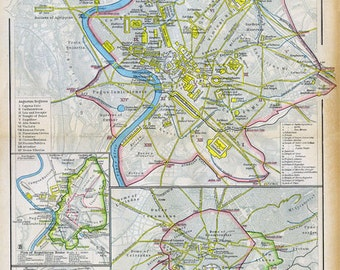 Print of Map-Plans of Rome and Atens 350 AD