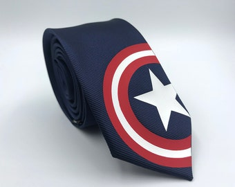 Captain America Special Edition Silk Tie. Slim Tie. Civil War. Avengers. Wedding Tie, Christmas Gift, Fathers Day Gift. Birthday Gift.