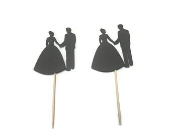 24 wedding couple toothpicks, wedding shower, wedding toothpicks, dessert toppers, appetizer picks, food picks, cupcake toppers