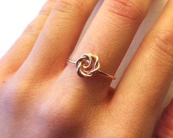 Rose Ring Rose Gold - 14K Gold-Filled /Sterling Silver Wire -Flower Girl /Pink /Love /Girlfriend Gift /Bridesmaids /Anniversary -Graduation
