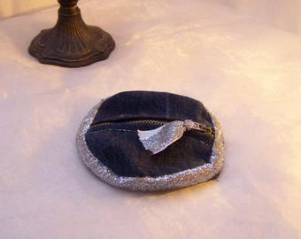wallet made of recycled denim and silver glitter