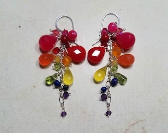 Rainbow Gemstone Cluster Earrings, Small Rainbow Dangle, Chakra Gemstone Earrings