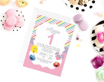 Sesame Street Invitation | Sesame Street Invite | Elmo Invitation | Cookie Monster Invitation | Abby Cadabby Invitation
