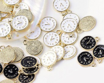 5 charms clock in gilt and enamel 1.7 cm