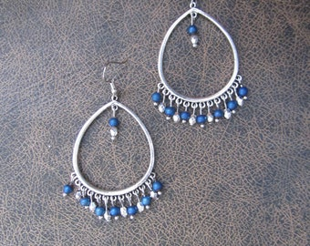 Large tribal blue and silver chandelier dangle earrings
