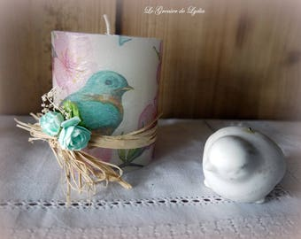 Candle decorated 8cms spring birds