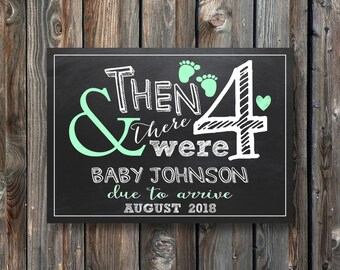 PRINTABLE Pregnancy Announcement Card-And Then There Were 4–Baby Announcement Card–PRINTABLE Baby Announcement Sign-Baby Reveal Sign-PA18