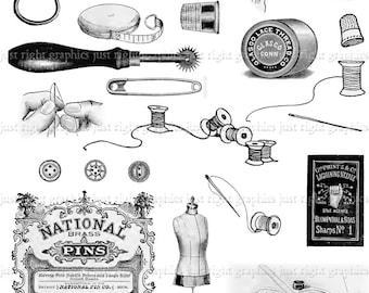 Vintage Sewing Digital Collage Sheet Scrapbook Needle Thread Logo Clip Art Journal Tags