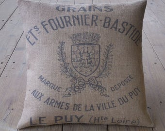 French grain sack style Burlap Pillow, feed sack logo, Rustic Farmhouse, Shabby Chic 25, INSERT INCLUDED
