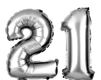 "21 silver Jumbo Balloon Numbers 34"" balloon set"