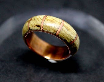 Ring natural wood and copper size US 8 insert