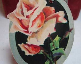 Gorgeous 1920's die cut unused The Henderson Line bridge tally card rose graphics