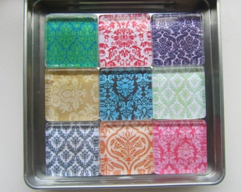 Damask Refrigerator Magnets, Set of 9 Fridge Magnets with Storage Tin