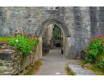 """Fine Art Color Travel Photography of Abandoned Abbey Ruins in Ireland - """"Entry to Muckross Abbey"""""""