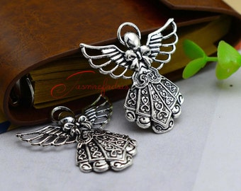 10PCS--41x37mm ,Huge Fairy Angel Charms, Antique silver Fairy Angel Charm pendant, DIY supplies,Jewelry Making