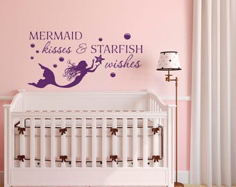 Mermaid Kisses And Starfish Wishes WALL DECAL QUOTE by FabWallDecals- Mermaid Wall Decal Nautical Nursery Girls Room- Beach Wall Decal Q306