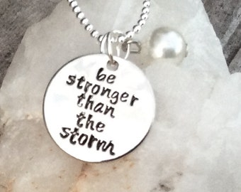 Be stronger than the storm with a faux pearl semi colon Pendant, can personalize, strength charm, mental health necklace