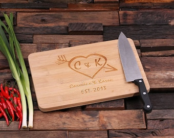 Personalized Wood Cutting Chopping Board Engraved and Monogrammed Family Name (024186)