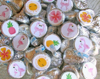 Flamingo Party, Candy Labels, Pink Flamingo, Candy Stickers, Flamingo Party Favor, Printed Stickers