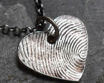 Heart Fingerprint Necklace - Fine Silver Charm on Sterling Silver Rollo Chain