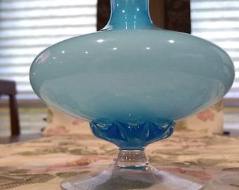 Vintage Italian blue glass bud vase