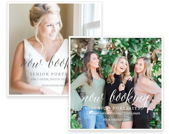 Photography Portrait Session Template Overlays.  Marketing Cards. Now Booking. Instant Download