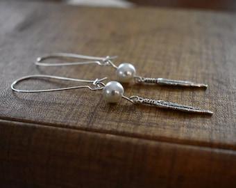 Dangle Feather and Pearl Earrings, Kidney Hook Earrings, Pearl