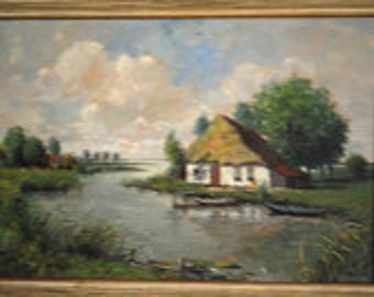 Sweet vintage 50s pastel color,  original oil painting on canvas. Dutch landscape. Framed.