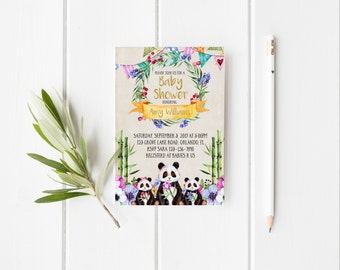 Panda Baby Shower Invitation Watercolor Floral Baby shower Bamboo Floral Invitation Gold Glitter Baby Shower Personalized Invitation