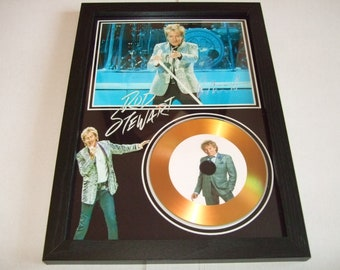 rod stewart  signed disc display