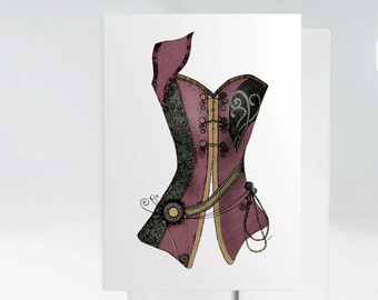 Steampunk Corset, Victorian Corset Card, Steampunk Top, Corset Card, Steampunk Fashion, Steampunk Decor, Steampunk Wall Art, 1041A