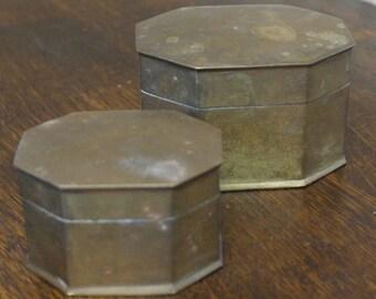vintage 2 x brass boxes