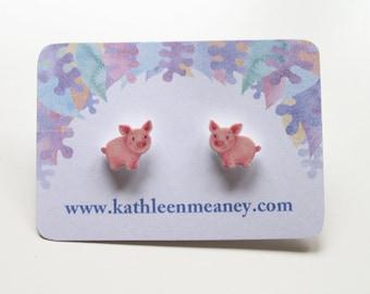 Pig stud animal earrings