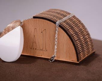 Wood Resin Jewelry Statement Pendant Unique Necklace Geometric Pendant 119