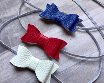 Adorable Bow Newborn/Baby Headbands: Blue, Red or Off White bows on White skinny stretch headbands Newborn, Baby, Toddler, Girls