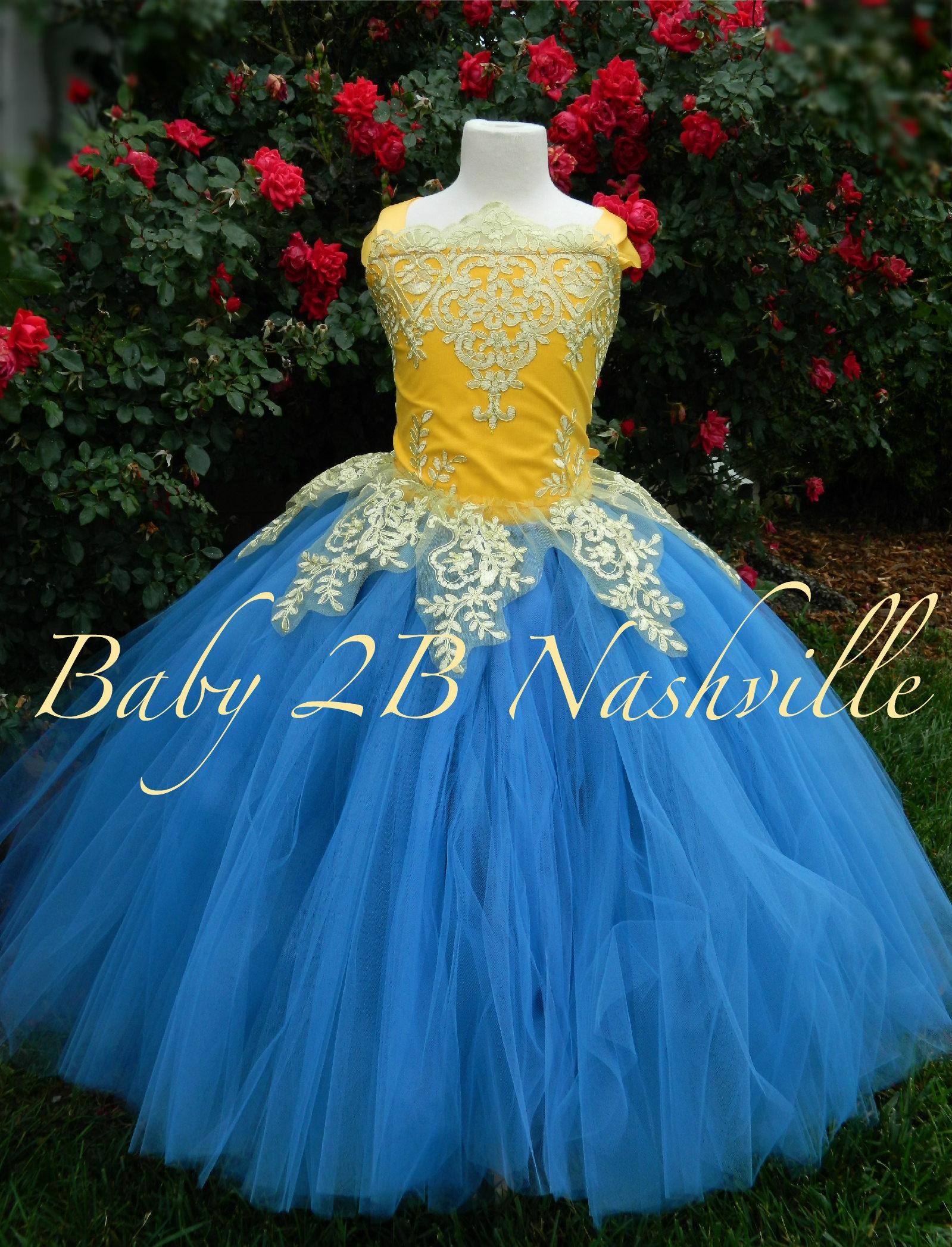 Smoke Blue Dress Gold Dress Yellow Flower Girl Dress Princess Dress ...