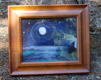 Ocean wool painting, ocean art, lighthouse wool painting, moonlight on the water art present for dads